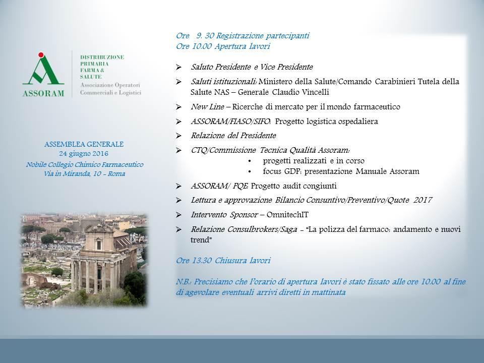 Assemblea Generale Assoram 2016_Programma
