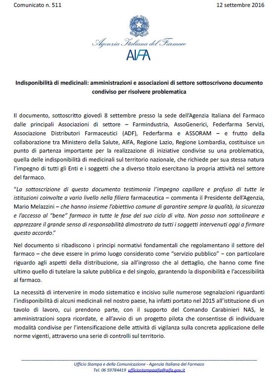 Comunicato AIFA_Protocollo distribuzione