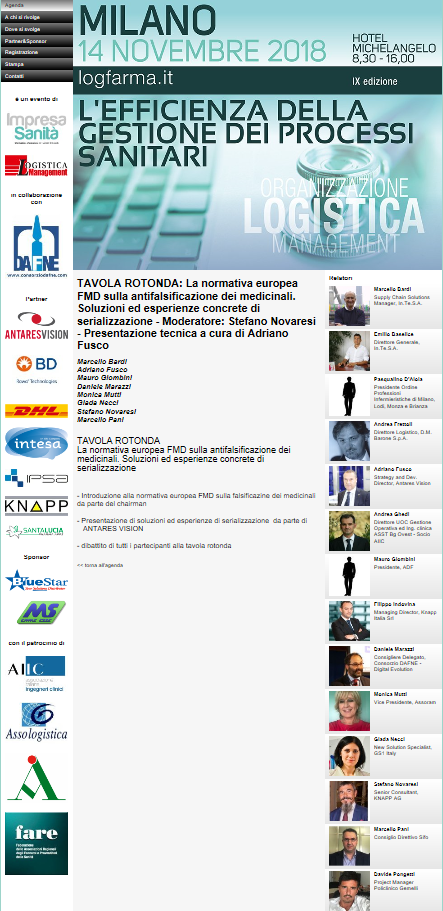 L'EFFICIENZA DELLA GESTIONE DEI PROCESSI SANITARI - 9° Convegno LOGFARMA @ Milano