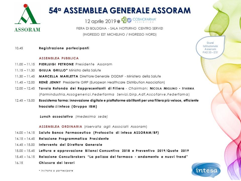 54° ASSEMBLEA ASSORAM - COSMOFARMA 2019 @ Sala Notturno - Centro Servizi blocco D - Fiera di Bologna (Ingressi EST e Nord)