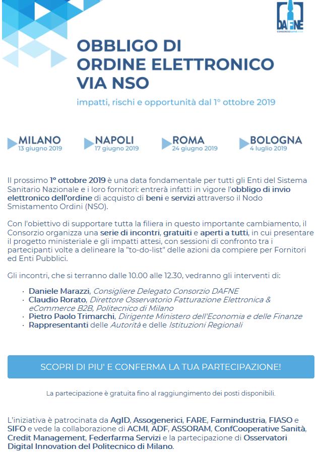 Obbligo di Ordine Elettronico via NSO: Roadshow CONSORZIO DAFNE - Milano @ Auditorium di Assolombarda